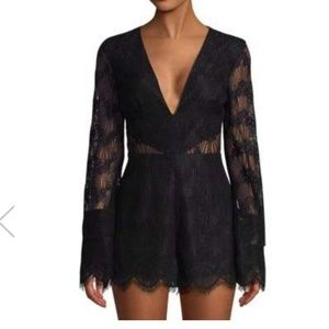 NWT Keepsake The Label black lace romper